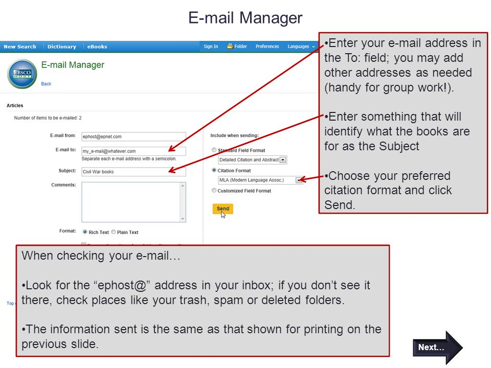 Manager Enter your  address in the To: field; you may add other addresses as needed (handy for group work!).