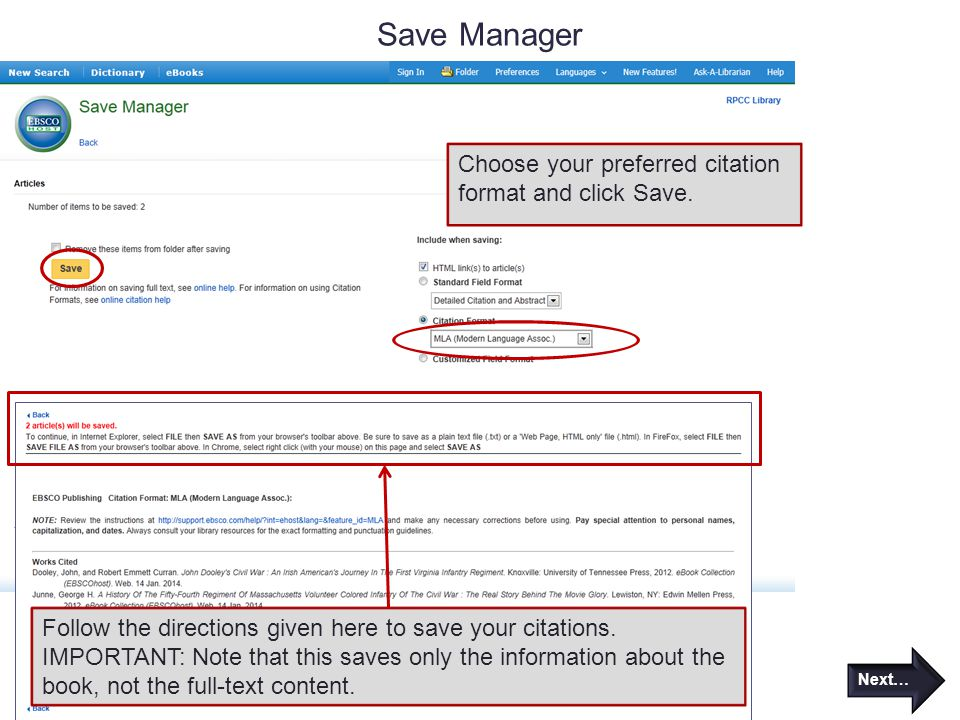 Save Manager Choose your preferred citation format and click Save.