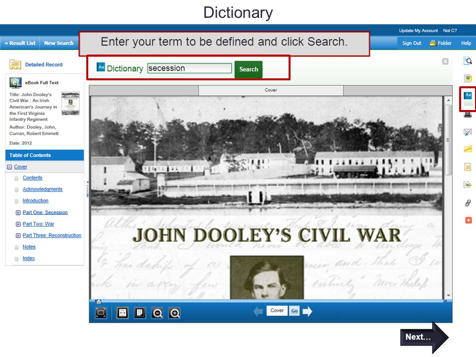 Dictionary Enter your term to be defined and click Search. Next…