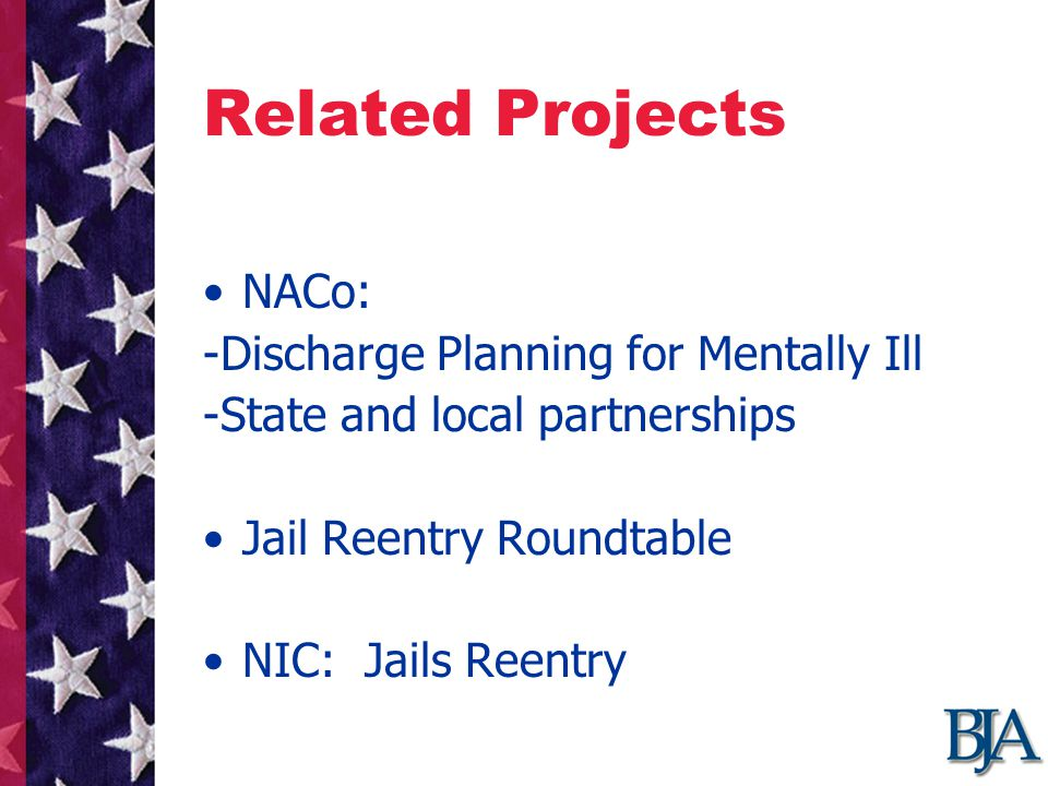 Related Projects NACo: -Discharge Planning for Mentally Ill -State and local partnerships Jail Reentry Roundtable NIC: Jails Reentry