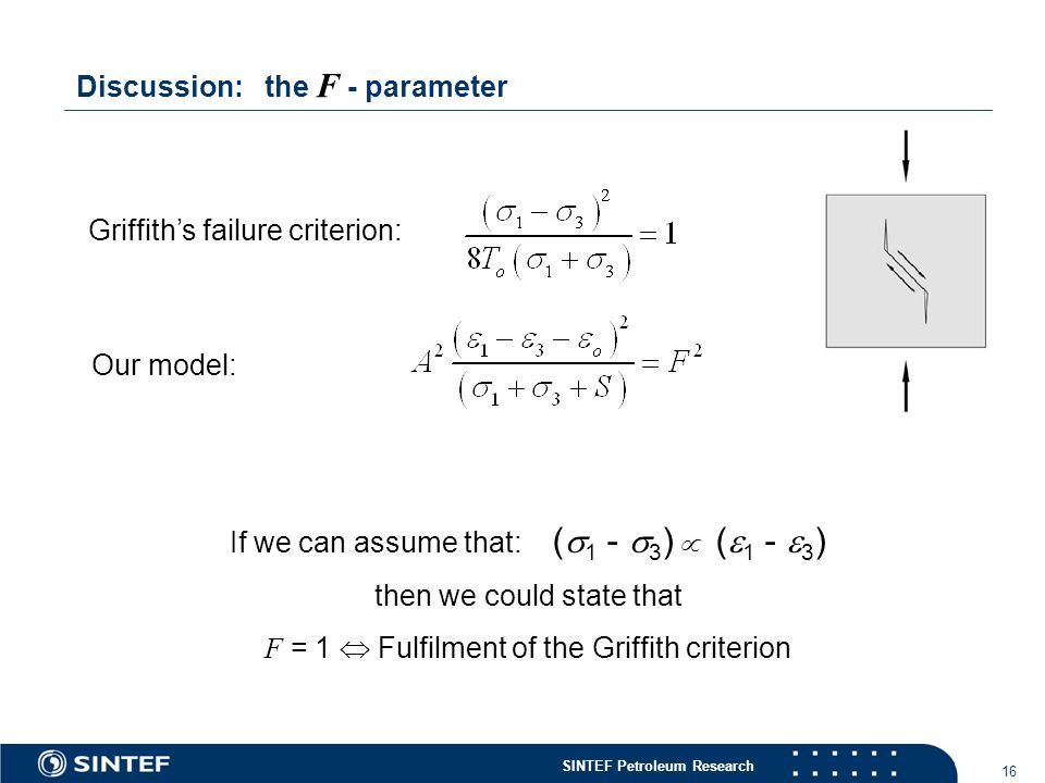 SINTEF Petroleum Research 16 Griffith's failure criterion: If we can assume that: (  1 -  3 )  (  1 -  3 ) then we could state that F = 1  Fulfilment of the Griffith criterion Our model: Discussion: the F - parameter