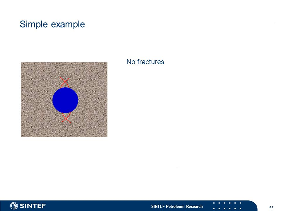 SINTEF Petroleum Research 53 Simple example No fractures