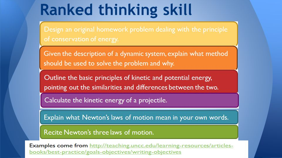 Multiple Choice Questions  Bloom's Taxonomy Ranked thinking