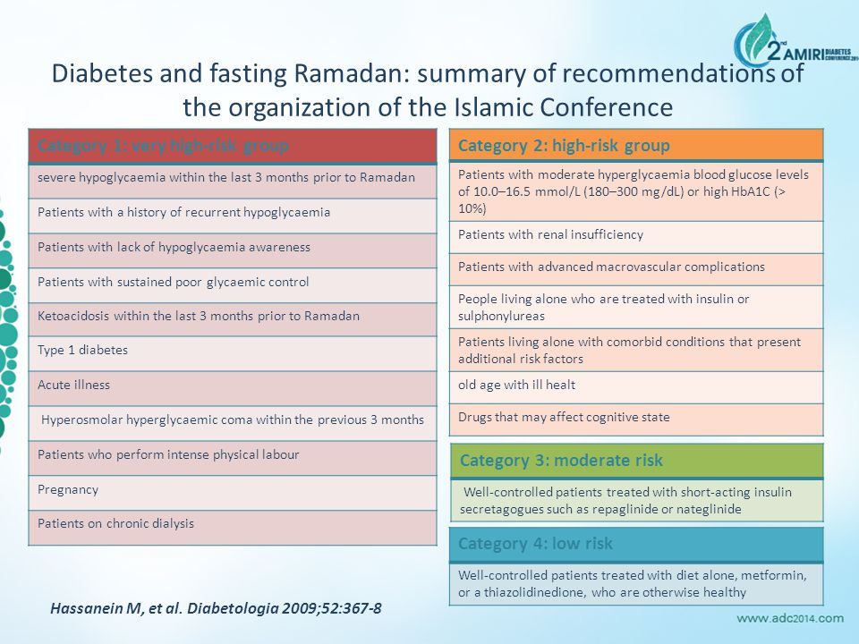 Diabetes and fasting Ramadan: summary of recommendations of the organization of the Islamic Conference Category 1: very high-risk group severe hypoglycaemia within the last 3 months prior to Ramadan Patients with a history of recurrent hypoglycaemia Patients with lack of hypoglycaemia awareness Patients with sustained poor glycaemic control Ketoacidosis within the last 3 months prior to Ramadan Type 1 diabetes Acute illness Hyperosmolar hyperglycaemic coma within the previous 3 months Patients who perform intense physical labour Pregnancy Patients on chronic dialysis Category 2: high-risk group Patients with moderate hyperglycaemia blood glucose levels of 10.0–16.5 mmol/L (180–300 mg/dL) or high HbA1C (> 10%) Patients with renal insufficiency Patients with advanced macrovascular complications People living alone who are treated with insulin or sulphonylureas Patients living alone with comorbid conditions that present additional risk factors old age with ill healt Drugs that may affect cognitive state Hassanein M, et al.