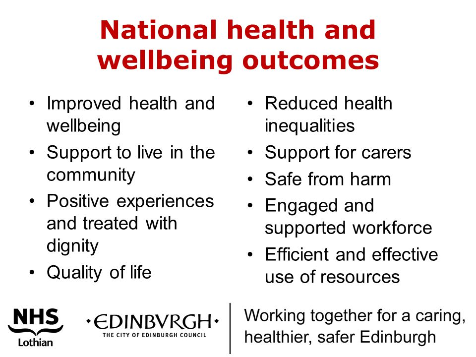 National health and wellbeing outcomes Improved health and wellbeing Support to live in the community Positive experiences and treated with dignity Quality of life Reduced health inequalities Support for carers Safe from harm Engaged and supported workforce Efficient and effective use of resources