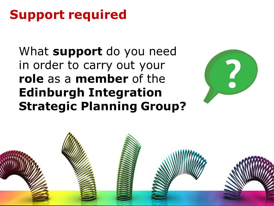Support required What support do you need in order to carry out your role as a member of the Edinburgh Integration Strategic Planning Group