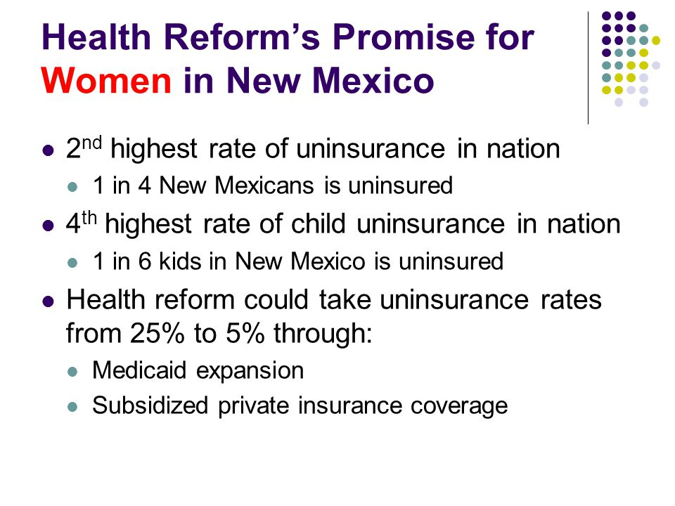Health Reform's Promise for Women in New Mexico 2 nd highest rate of uninsurance in nation 1 in 4 New Mexicans is uninsured 4 th highest rate of child uninsurance in nation 1 in 6 kids in New Mexico is uninsured Health reform could take uninsurance rates from 25% to 5% through: Medicaid expansion Subsidized private insurance coverage