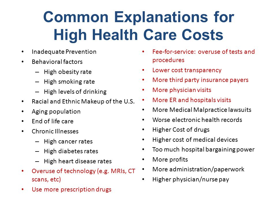 Common Explanations for High Health Care Costs Inadequate Prevention Behavioral factors – High obesity rate – High smoking rate – High levels of drinking Racial and Ethnic Makeup of the U.S.