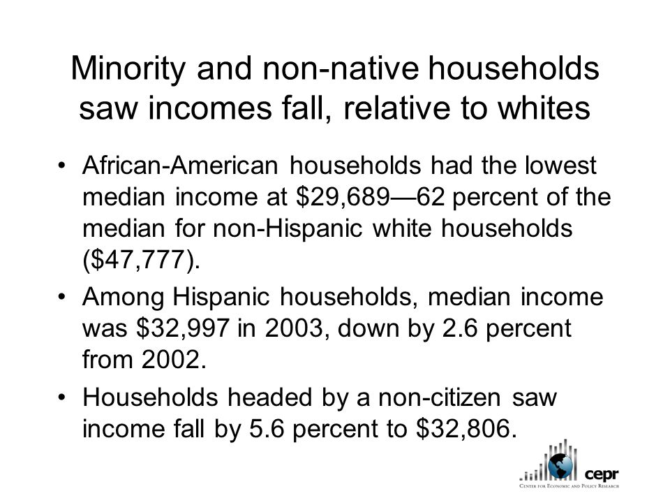 Minority and non-native households saw incomes fall, relative to whites African-American households had the lowest median income at $29,689—62 percent of the median for non-Hispanic white households ($47,777).