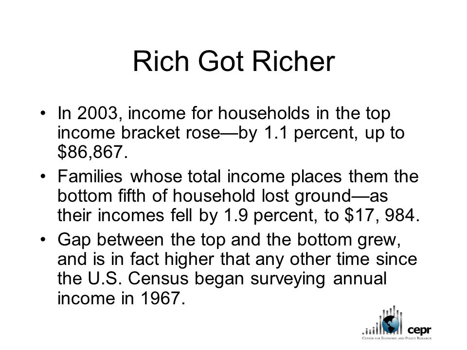 Rich Got Richer In 2003, income for households in the top income bracket rose—by 1.1 percent, up to $86,867.