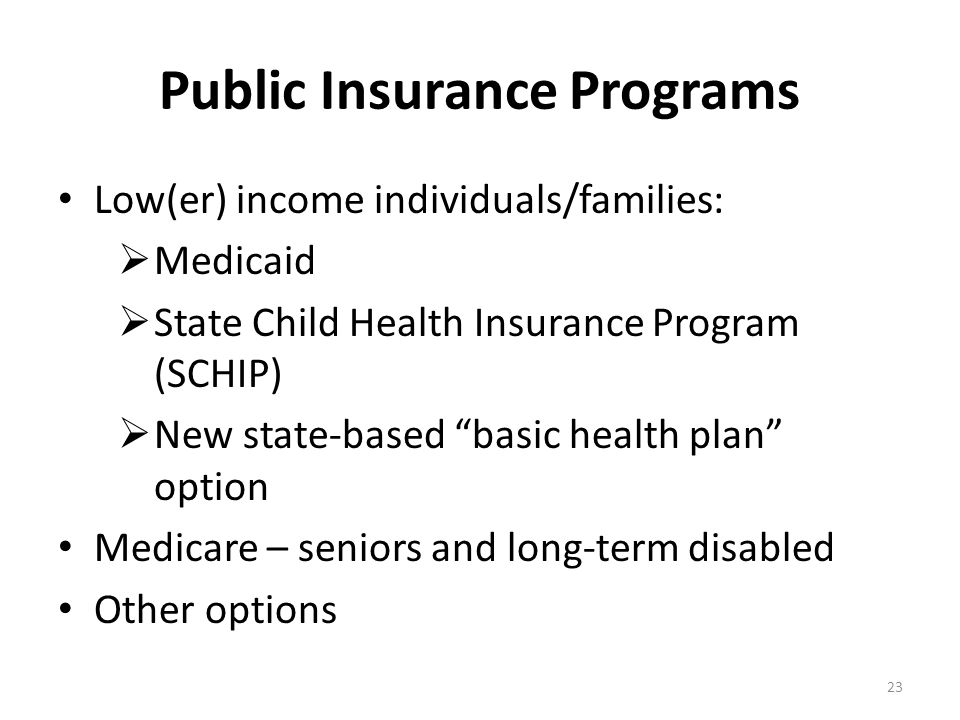Public Insurance Programs Low(er) income individuals/families:  Medicaid  State Child Health Insurance Program (SCHIP)  New state-based basic health plan option Medicare – seniors and long-term disabled Other options 23