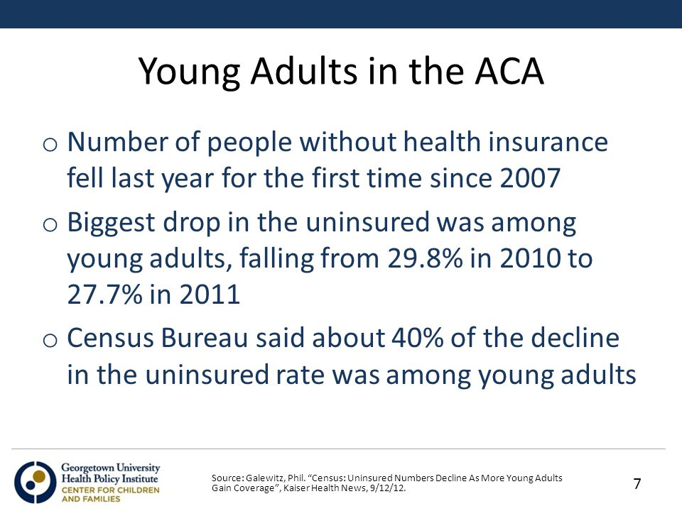 Young Adults in the ACA o Number of people without health insurance fell last year for the first time since 2007 o Biggest drop in the uninsured was among young adults, falling from 29.8% in 2010 to 27.7% in 2011 o Census Bureau said about 40% of the decline in the uninsured rate was among young adults Source: Galewitz, Phil.