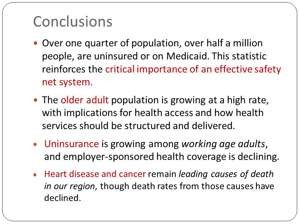 Conclusions Over one quarter of population, over half a million people, are uninsured or on Medicaid.