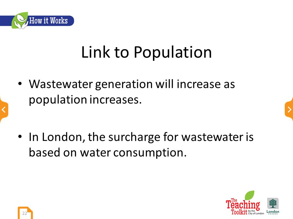 Link to Population Wastewater generation will increase as population increases.
