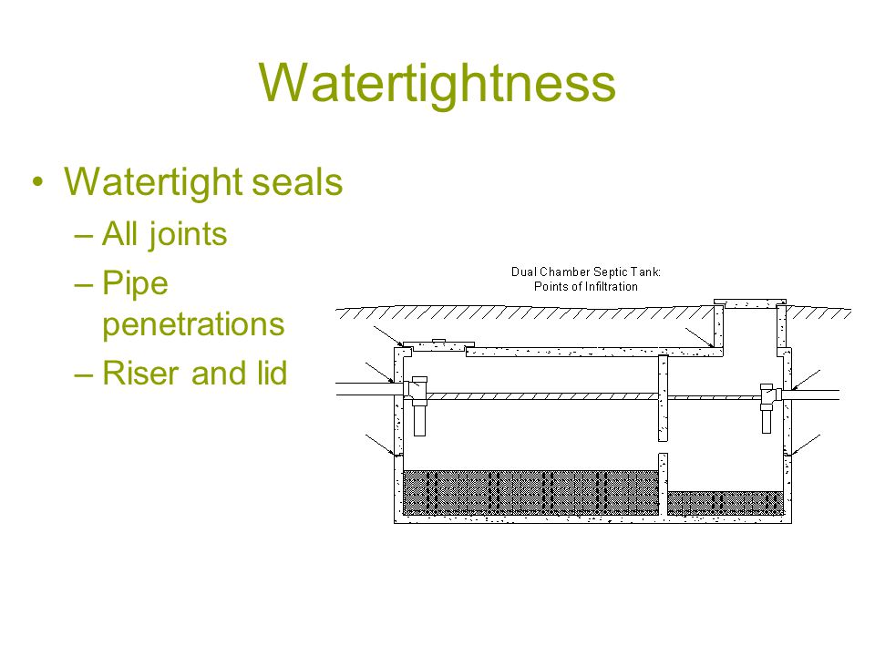 Watertightness Watertight seals –All joints –Pipe penetrations –Riser and lid