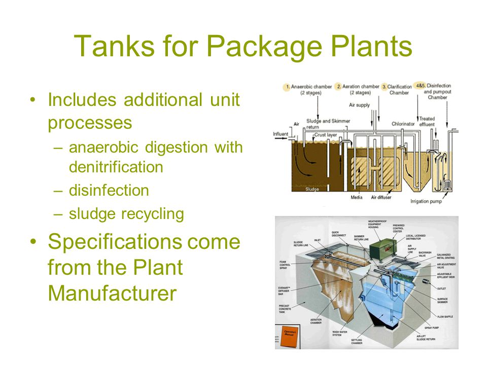 Tanks for Package Plants Includes additional unit processes –anaerobic digestion with denitrification –disinfection –sludge recycling Specifications come from the Plant Manufacturer