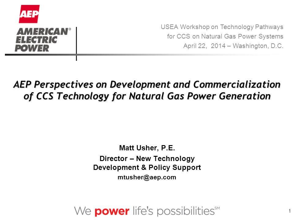 1 AEP Perspectives on Development and Commercialization of CCS Technology for Natural Gas Power Generation Matt Usher, P.E.