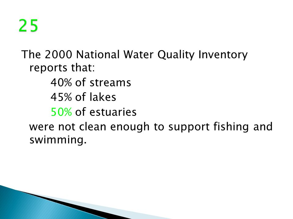 The 2000 National Water Quality Inventory reports that: 40% of streams 45% of lakes 50% of estuaries were not clean enough to support fishing and swimming.