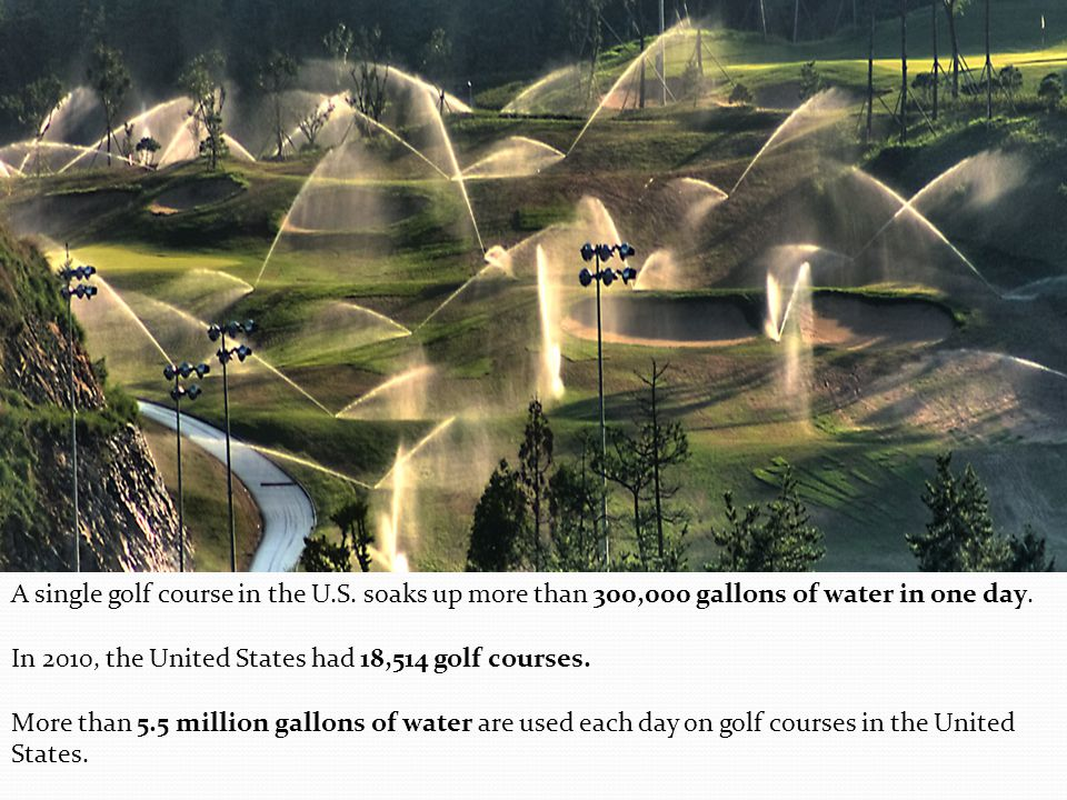 A single golf course in the U.S. soaks up more than 300,000 gallons of water in one day.