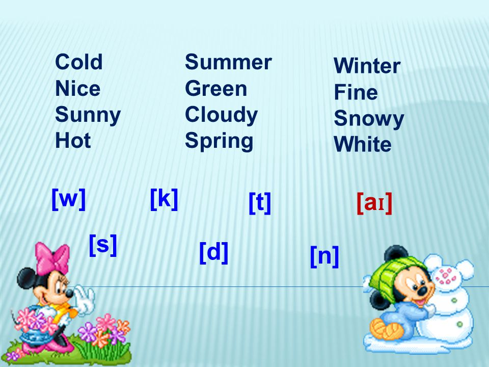 Cold Nice Sunny Hot Summer Green Cloudy Spring Winter Fine Snowy White [k] [a ɪ ] [t] [s] [d] [n] [w]