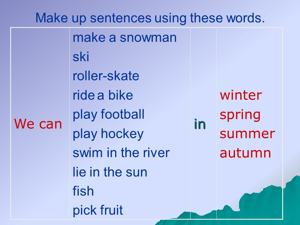 We can make a snowman ski roller-skate ride a bike play football play hockey swim in the river lie in the sun fish pick fruit in winter spring summer autumn Make up sentences using these words.