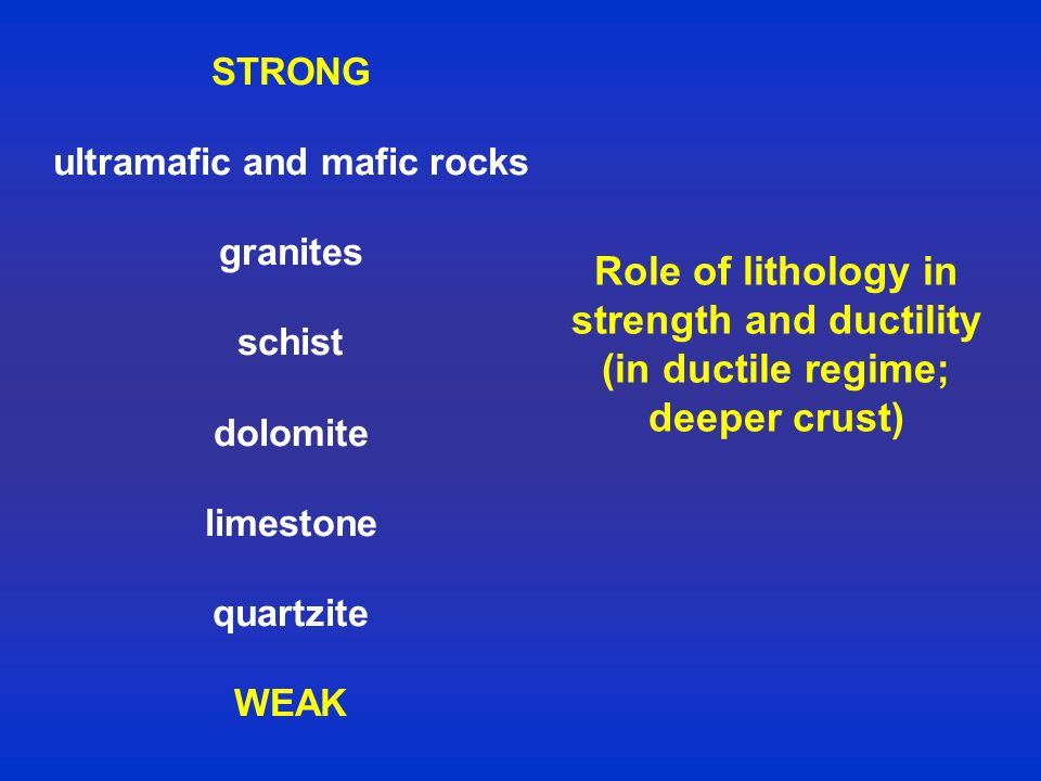 Role of lithology in strength and ductility (in ductile regime; deeper crust) STRONG ultramafic and mafic rocks granites schist dolomite limestone quartzite WEAK