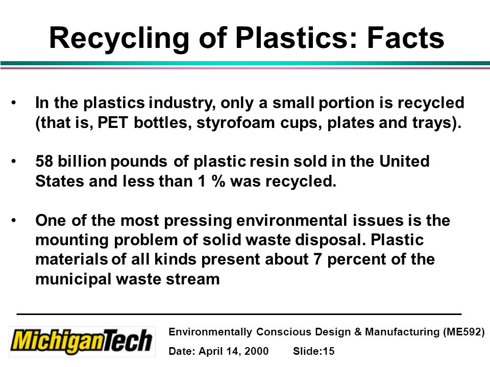Environmentally Conscious Design & Manufacturing (ME592) Date: April 14, 2000 Slide:15 Recycling of Plastics: Facts In the plastics industry, only a small portion is recycled (that is, PET bottles, styrofoam cups, plates and trays).