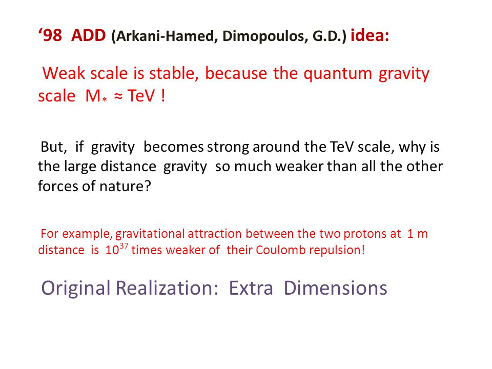 '98 ADD (Arkani-Hamed, Dimopoulos, G.D.) idea: Weak scale is stable, because the quantum gravity scale M * ≈ TeV .