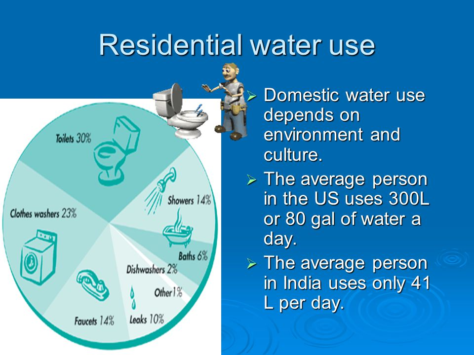 Residential water use  Domestic water use depends on environment and culture.