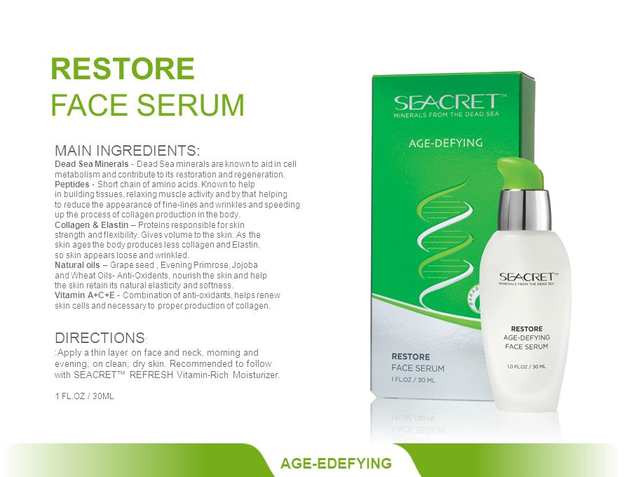 RESTORE FACE SERUM AGE-EDEFYING MAIN INGREDIENTS: Dead Sea Minerals - Dead Sea minerals are known to aid in cell metabolism and contribute to its restoration and regeneration.