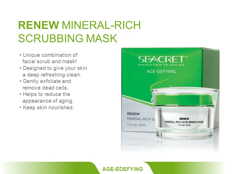 RENEW MINERAL-RICH SCRUBBING MASK AGE-EDEFYING Unique combination of facial scrub and mask.