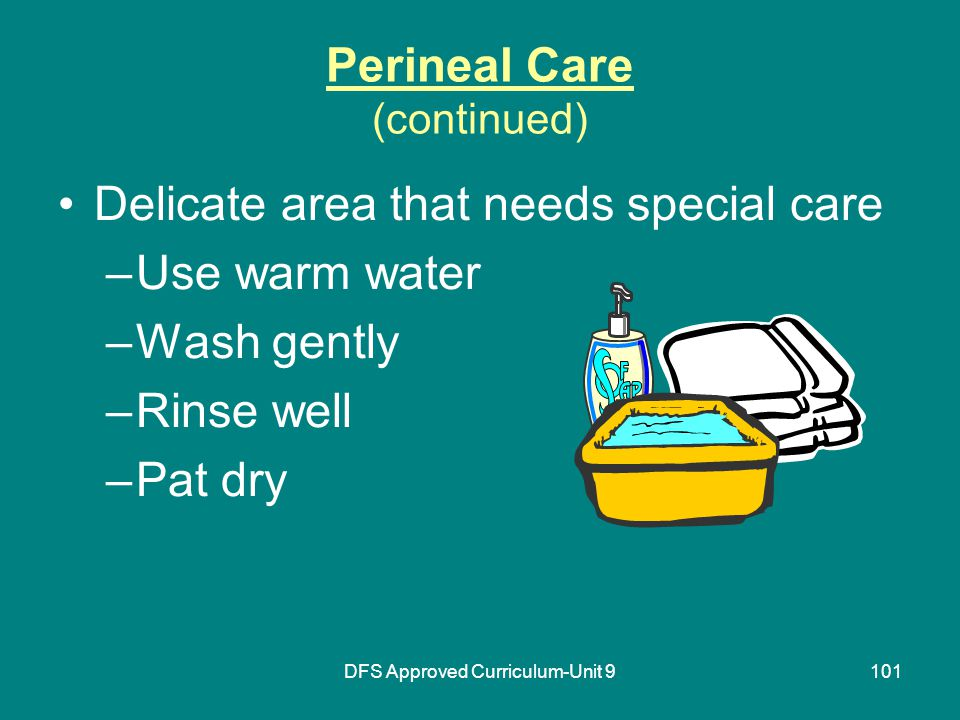 DFS Approved Curriculum-Unit 9101 Perineal Care (continued) Delicate area that needs special care –Use warm water –Wash gently –Rinse well –Pat dry