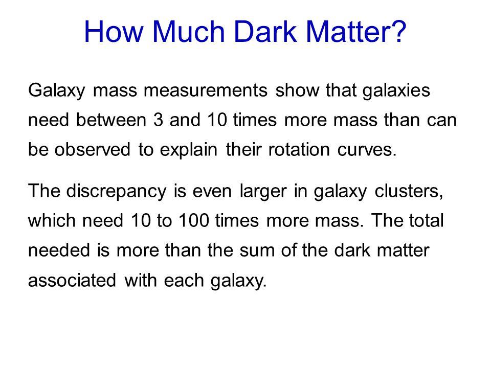 Galaxy mass measurements show that galaxies need between 3 and 10 times more mass than can be observed to explain their rotation curves.