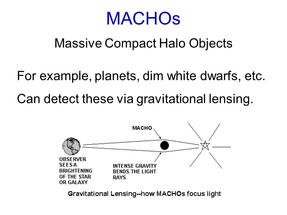 MACHOs Massive Compact Halo Objects For example, planets, dim white dwarfs, etc.