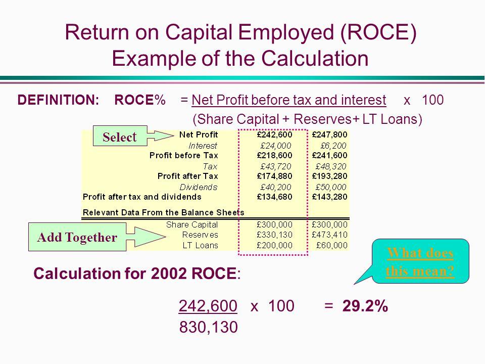 Capital employed, average capital employed and rate of return.