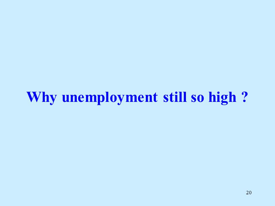 20 Why unemployment still so high
