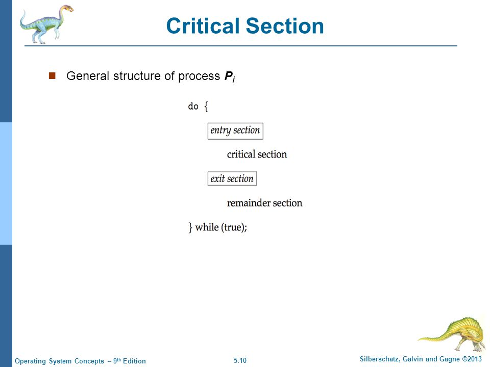 5.10 Silberschatz, Galvin and Gagne ©2013 Operating System Concepts – 9 th Edition Critical Section General structure of process P i