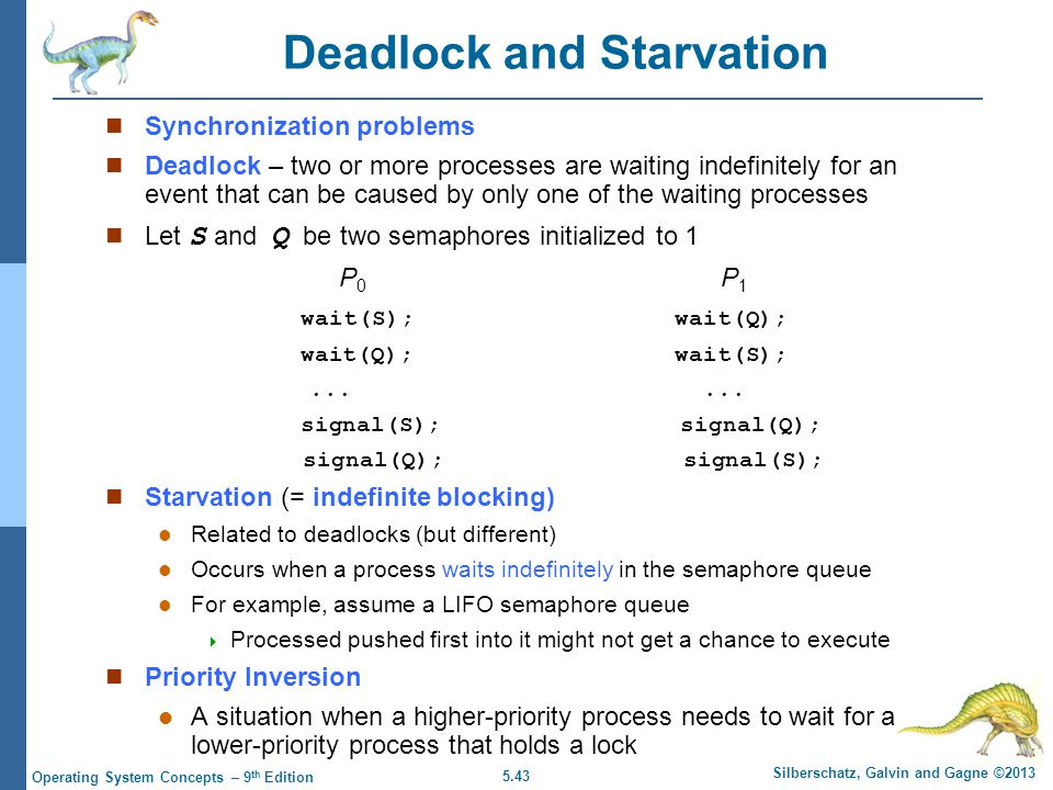 5.43 Silberschatz, Galvin and Gagne ©2013 Operating System Concepts – 9 th Edition Deadlock and Starvation Synchronization problems Deadlock – two or more processes are waiting indefinitely for an event that can be caused by only one of the waiting processes Let S and Q be two semaphores initialized to 1 P 0 P 1 wait(S); wait(Q); wait(Q); wait(S);......