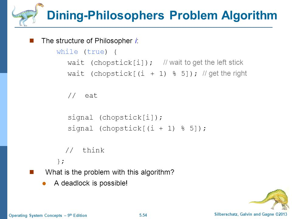5.54 Silberschatz, Galvin and Gagne ©2013 Operating System Concepts – 9 th Edition Dining-Philosophers Problem Algorithm The structure of Philosopher i: while (true) { wait (chopstick[i]); // wait to get the left stick wait (chopstick[(i + 1) % 5]); // get the right // eat signal (chopstick[i]); signal (chopstick[(i + 1) % 5]); // think }; What is the problem with this algorithm.