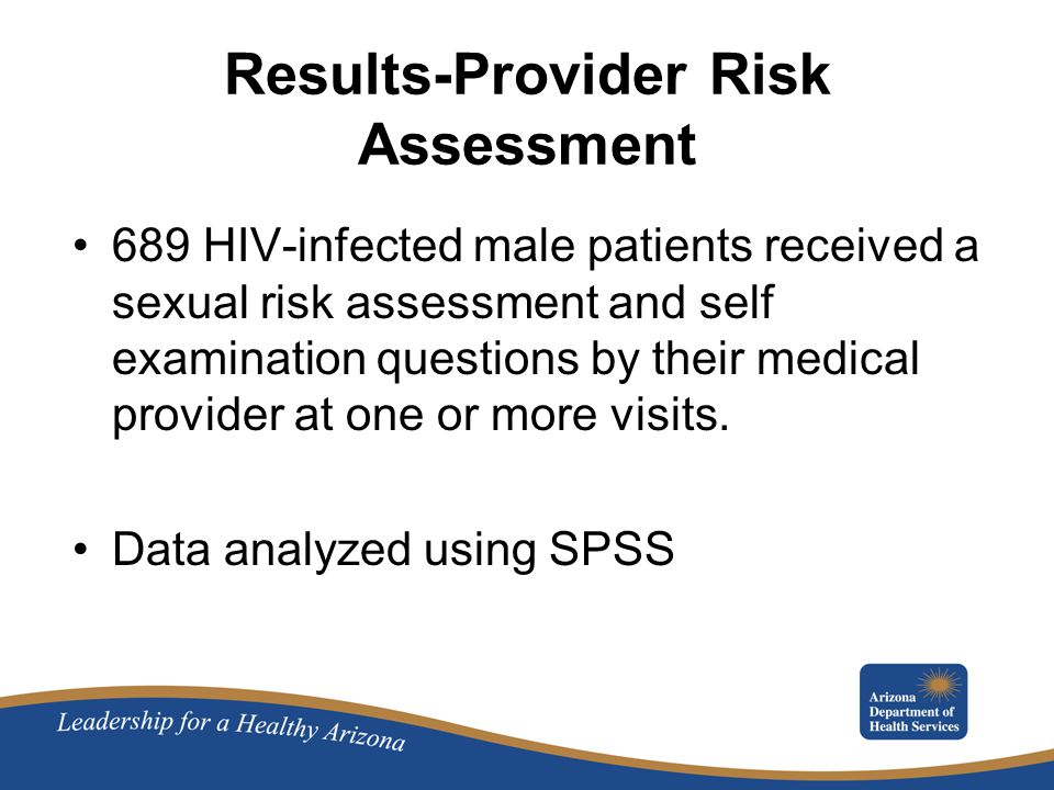 Results-Provider Risk Assessment 689 HIV-infected male patients received a sexual risk assessment and self examination questions by their medical provider at one or more visits.