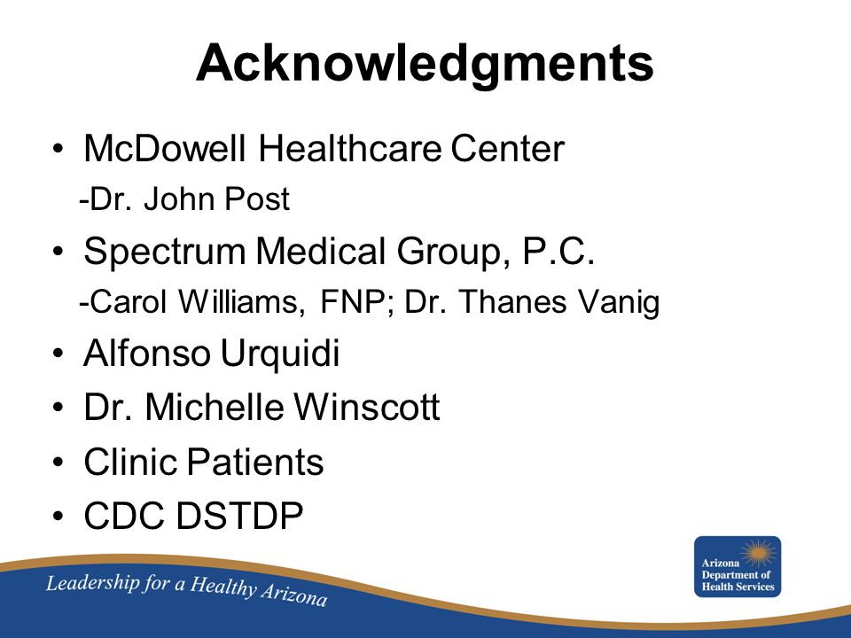 Acknowledgments McDowell Healthcare Center -Dr. John Post Spectrum Medical Group, P.C.