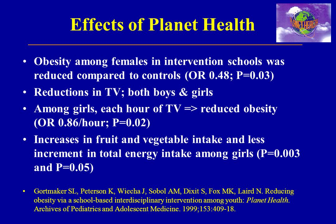 Effects of Planet Health Obesity among females in intervention schools was reduced compared to controls (OR 0.48; P=0.03) Reductions in TV; both boys & girls Among girls, each hour of TV => reduced obesity (OR 0.86/hour; P=0.02) Increases in fruit and vegetable intake and less increment in total energy intake among girls (P=0.003 and P=0.05) Gortmaker SL, Peterson K, Wiecha J, Sobol AM, Dixit S, Fox MK, Laird N.