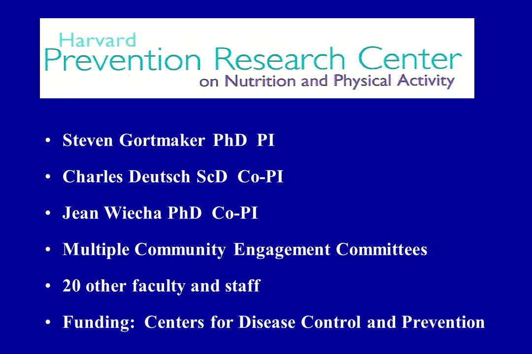 Steven Gortmaker PhD PI Charles Deutsch ScD Co-PI Jean Wiecha PhD Co-PI Multiple Community Engagement Committees 20 other faculty and staff Funding: Centers for Disease Control and Prevention