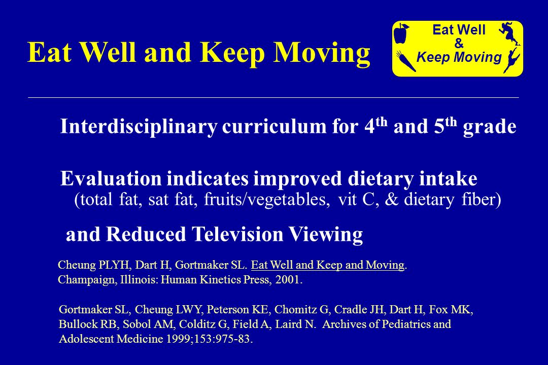Interdisciplinary curriculum for 4 th and 5 th grade Evaluation indicates improved dietary intake (total fat, sat fat, fruits/vegetables, vit C, & dietary fiber) and Reduced Television Viewing Eat Well and Keep Moving Eat Well & Keep Moving Gortmaker SL, Cheung LWY, Peterson KE, Chomitz G, Cradle JH, Dart H, Fox MK, Bullock RB, Sobol AM, Colditz G, Field A, Laird N.