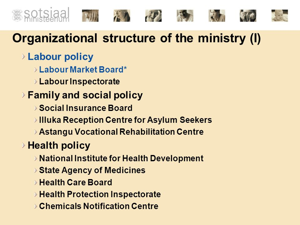 Organizational structure of the ministry (I) Labour policy Labour Market Board* Labour Inspectorate Family and social policy Social Insurance Board Illuka Reception Centre for Asylum Seekers Astangu Vocational Rehabilitation Centre Health policy National Institute for Health Development State Agency of Medicines Health Care Board Health Protection Inspectorate Chemicals Notification Centre