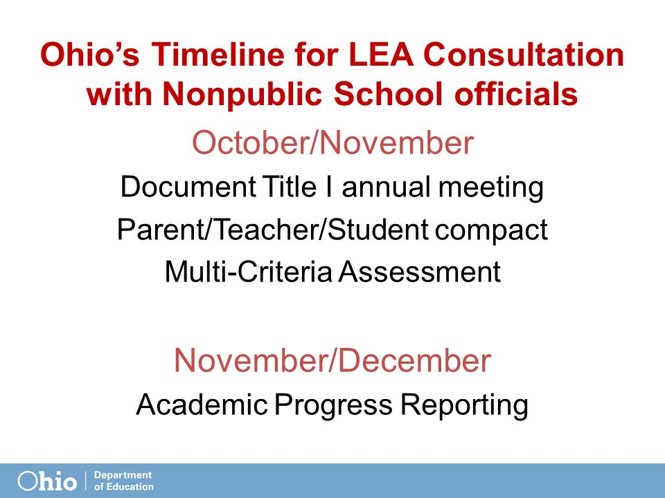 Ohio's Timeline for LEA Consultation with Nonpublic School officials October/November Document Title I annual meeting Parent/Teacher/Student compact Multi-Criteria Assessment November/December Academic Progress Reporting