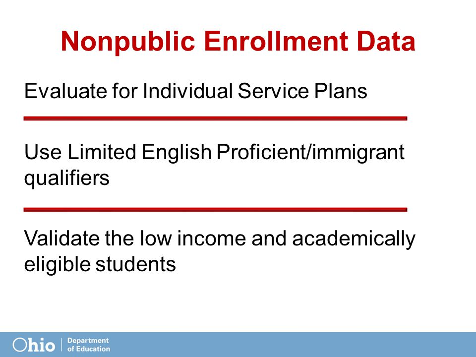 Nonpublic Enrollment Data Evaluate for Individual Service Plans Use Limited English Proficient/immigrant qualifiers Validate the low income and academically eligible students