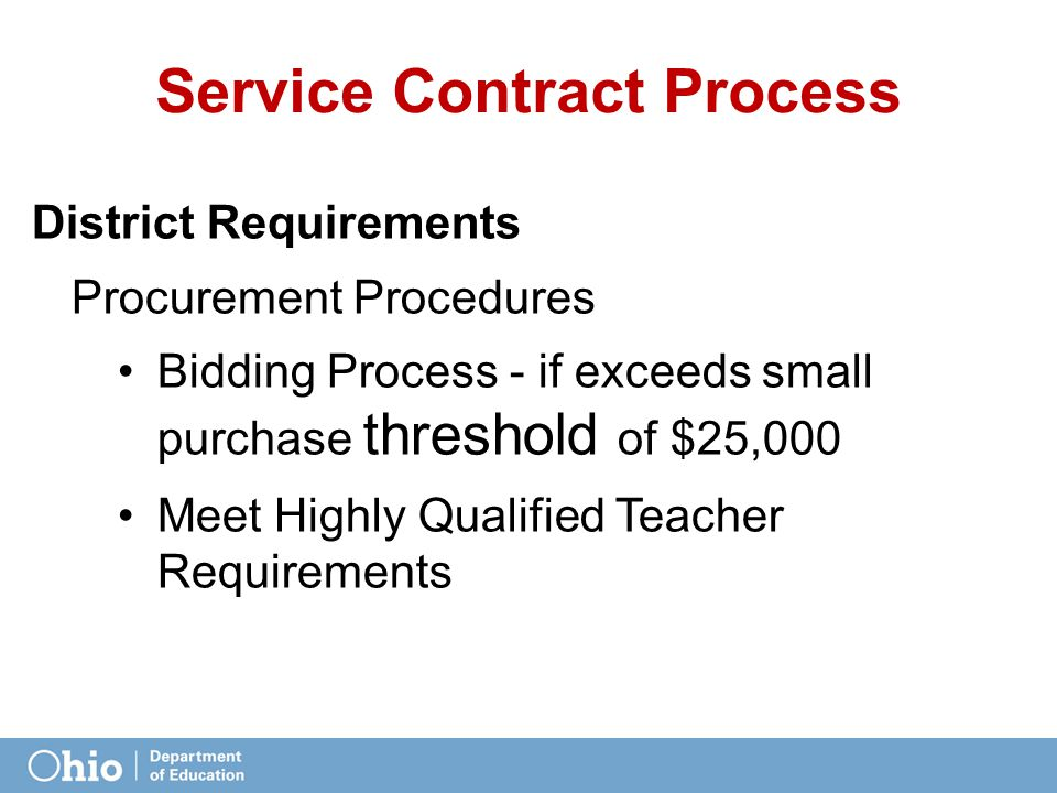 Service Contract Process District Requirements Procurement Procedures Bidding Process - if exceeds small purchase threshold of $25,000 Meet Highly Qualified Teacher Requirements