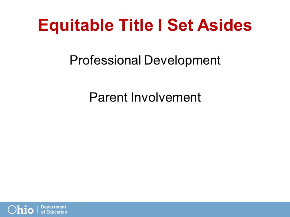 Equitable Title I Set Asides Professional Development Parent Involvement