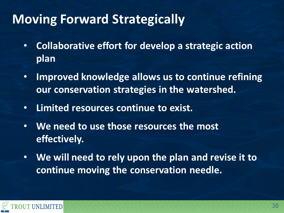 30 Moving Forward Strategically Collaborative effort for develop a strategic action plan Improved knowledge allows us to continue refining our conservation strategies in the watershed.